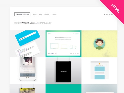 DribbbleFoliov2- Dribbble Portfolio HTML Template -Free Download by ...