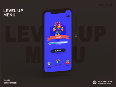 Level Up Game Menu exploration visual design menubar menu design app homepage game gaming app