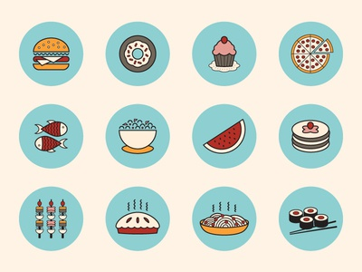 Food Icons stroke food icons flat circular line glyph web restaurant minimal modern bistro ui app dishes sushi salad simple pasta pizza cupcake fish pancakes burger cherry pie
