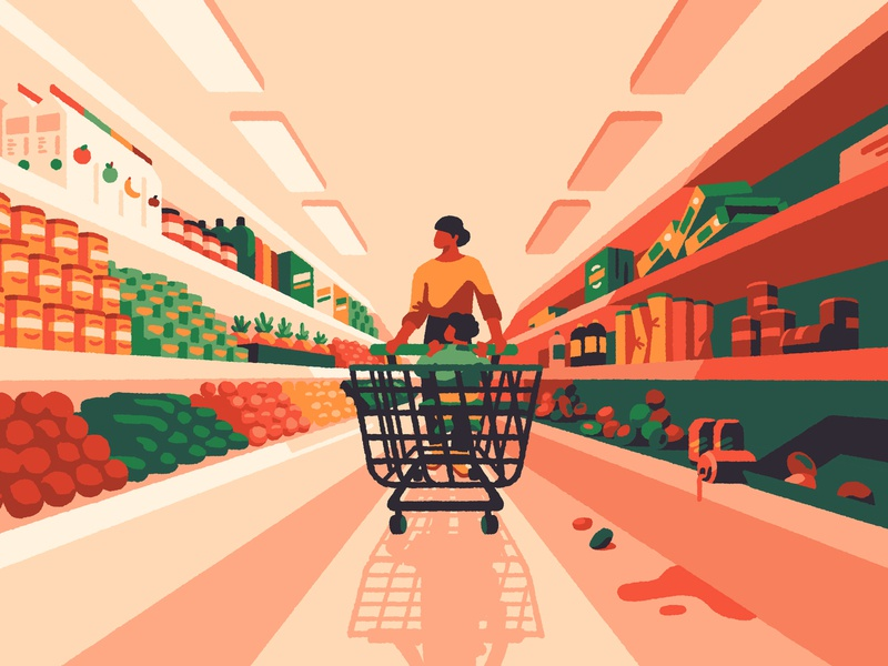Best & Worst Supermarkets (crop) freelance magazine child mother mum retail supermarket editorial artist art illustrator illustration