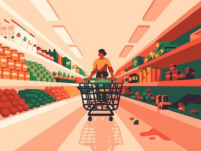 Best & Worst Supermarkets (crop) freelance magazine child mother mum retail supermarket editorial artist art illustrator illustration