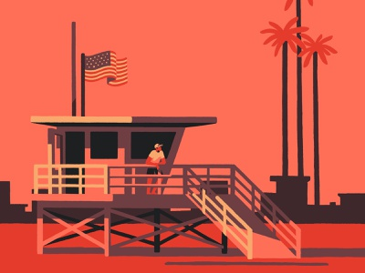Life Guard (crop) sunset sea sun venice beach venice santa monica beach california artist art illustrator illustration