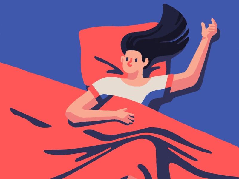 Awake insomniac insomnia sleep woman girl lady spot illustration editorial artist art illustrator illustration