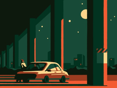 Night-watch (crop) urban moonlight vintage retro car night adobe photoshop art artist illustrator illustration