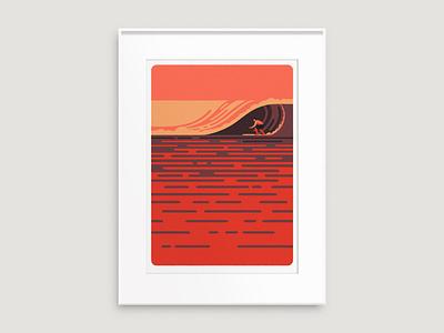 Big Surf print art illustrator west prints waves beach santa monica surfing surfer surf sea sun california print