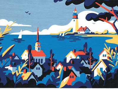 Summer (crop) freelancer postcard nature landscape usa new england painting editorial posca artist art illustrator illustration