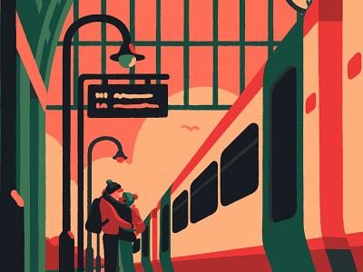 About Today transport hug couple priya mistry love goodbye trains train platform london artist art illustrator illustration