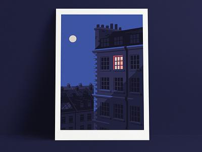 Lune night moonlight moon twilight evening printing print london art artist illustrator illustration