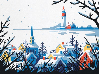 Winter christmas snow lighthouse landscape winter paint acrylic painting freelance molotow editorial posca artist art illustrator illustration