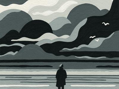 Landfall. (Crop) landscape priya mistry storm sea acrylics acrylic molotow painting posca artist art illustrator illustration