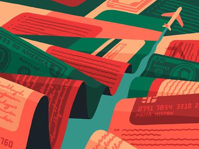 Flyover (crop) plane flight travel new york times new york editorial artist art illustrator illustration