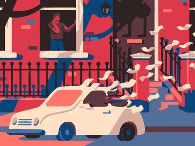 Leaving the meter running (crop) money car pandemic insurance london street editorial artist art illustrator illustration