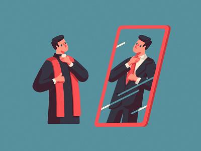 Bivocational Ministry mirror mirrors red blue magazine pastors priest church editorial art artist illustrator illustration