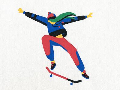 Jump illustration illustrator artist art sports sport girl skateboarding skateboard skate