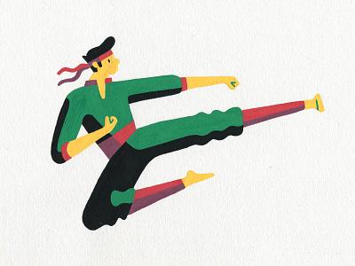 Yoko tobi geri posca artist art illustrator illustration taekwondo karate martial arts kick