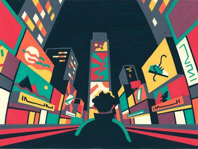 Sometime. Someplace. city times square new york city new york nyc posca artist art illustrator illustration