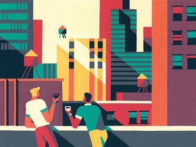 Views cityscape skyscraper painting city new york city manhattan new york posca artist art illustrator illustration