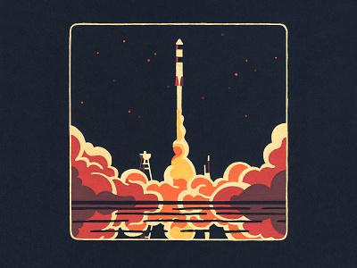 Lift off dribbble posca molotow acrylic painting illustrator illustration space exploration space x technology science sci-fi nasa space rocket