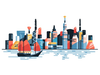 Beauty contest skylines cityscape city travel editorial freelance artist art cosmetics cosmetic beauty china hong kong illustrator illustration