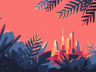 Metropolis plants creative concept procreate procreate art procreate app cityscape city artist art illustrator illustration
