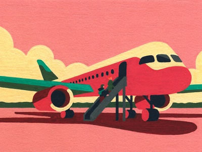 Here We Go (crop) sunset airplane acrylic painting molotow hand drawn posca art artist illustrator illustration