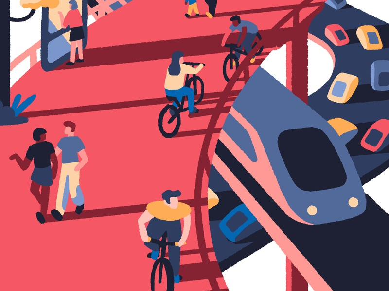 Moving Forward I cars transport train people cyclist cycle bicycle editorial illustration editorial cityscape city art artist illustrator illustration