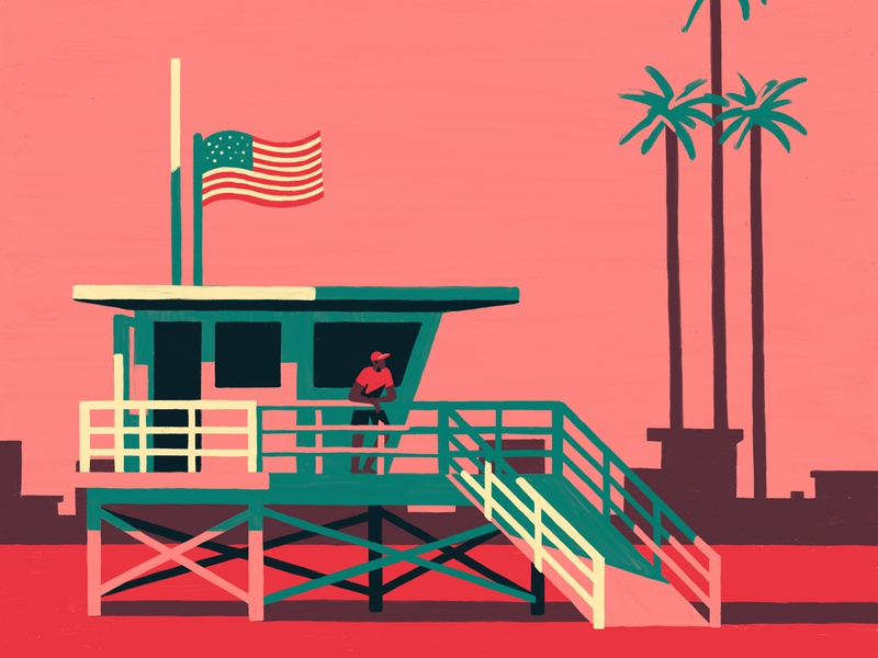 Life Guard dusk sunset sand sun sea beach santa monica california digital procreate painting art artist illustrator illustration