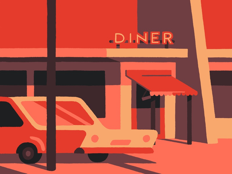 Diner (crop) painting digital painting fresco adobe los angeles red diner california usa art artist illustrator illustration