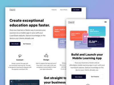 Build and Launch Your Mobile Learning App web website flat ux ui tablet logo layer illustrator illustration identify icon homepage desktop landing  page design education branding art app
