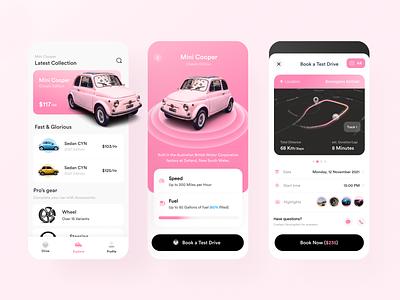 Mini Cooper Test Drive App car abstract popular ios mobile app design 3d illustration ui vector trending uiux design