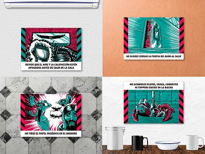 Pre-Apocalyptic Signage limited palette digitalart digital print signage illustration graphic design