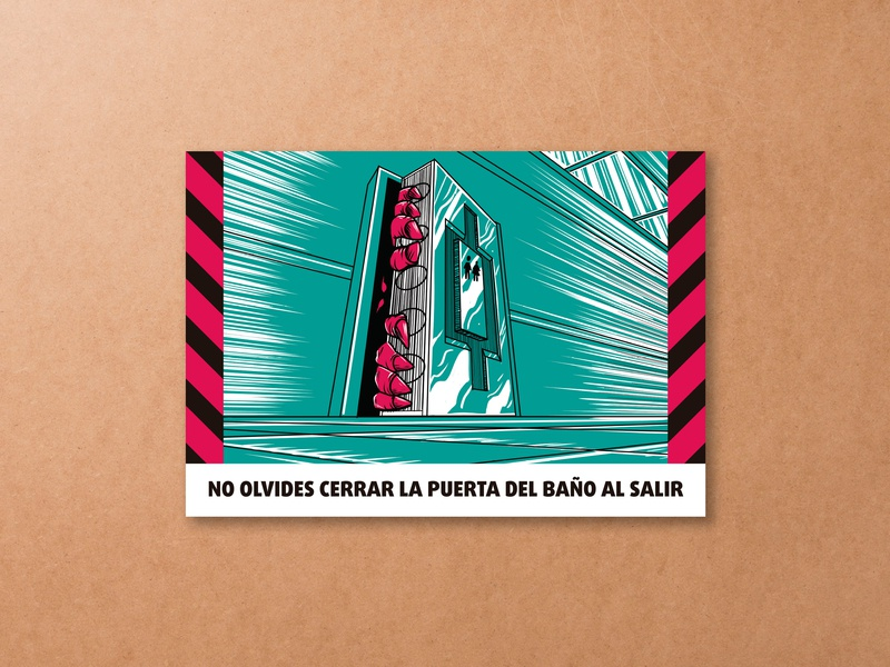 Pre-Apocalyptic Signage - Close the door signage digital art digital graphic design illustration