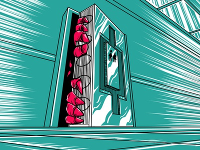 Pre-Apocalyptic Signage - Close the door (detail) print limited palette signage digital art digital graphic design illustration