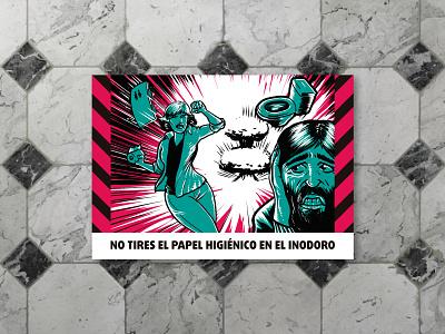Pre-Apocalyptic Signage - Toilet paper print limited color palette signage digital art graphic design illustration