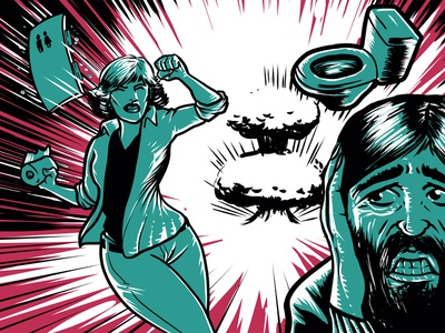 Pre-Apocalyptic Signage - Toilet paper (detail) signage limited color palette digital print digital art graphic design illustration
