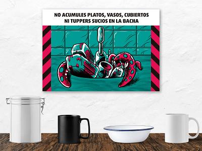 Pre-Apocalyptic Signage - Kitchen Sink limited color palette print signage digital art digital graphic design illustration