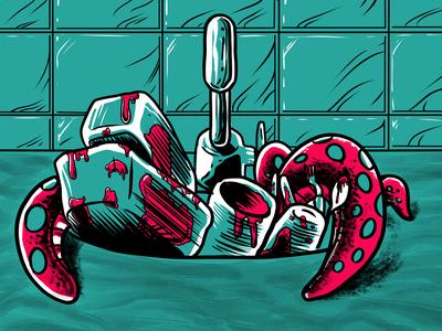 Pre-Apocalyptic Signage - Kitchen Sink (detail) limited color palette signage digital digital art print graphic design illustration