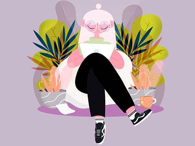VANS stayhome vansofthewall character design plants vans adobe power designer illustrator wacom girl illustration