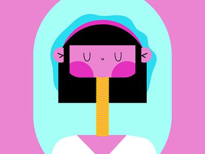 WMN tribu ai pink girlpower illustrator wacom vector girl illustration