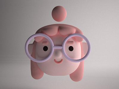 Floating Face vray c4d maxon wacom art character girl 3d