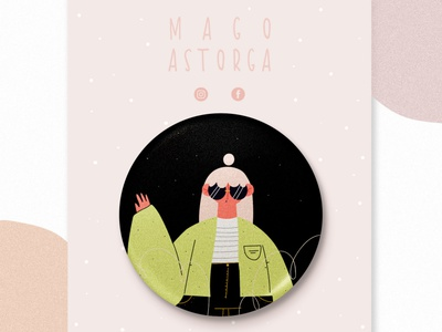 button pink girl power art designer illustrator button shop online illustration