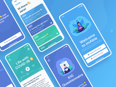 ImAble. Free emotional support for COVID-19 questionnaire screen blue mobile design mobile app app covid19 health ui design ui typography figma design
