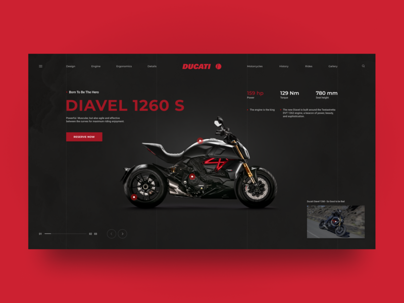 Ducati Diavel 1260 S concept page ui ux red typography grid figma ducati debut design conceptpage car concept black