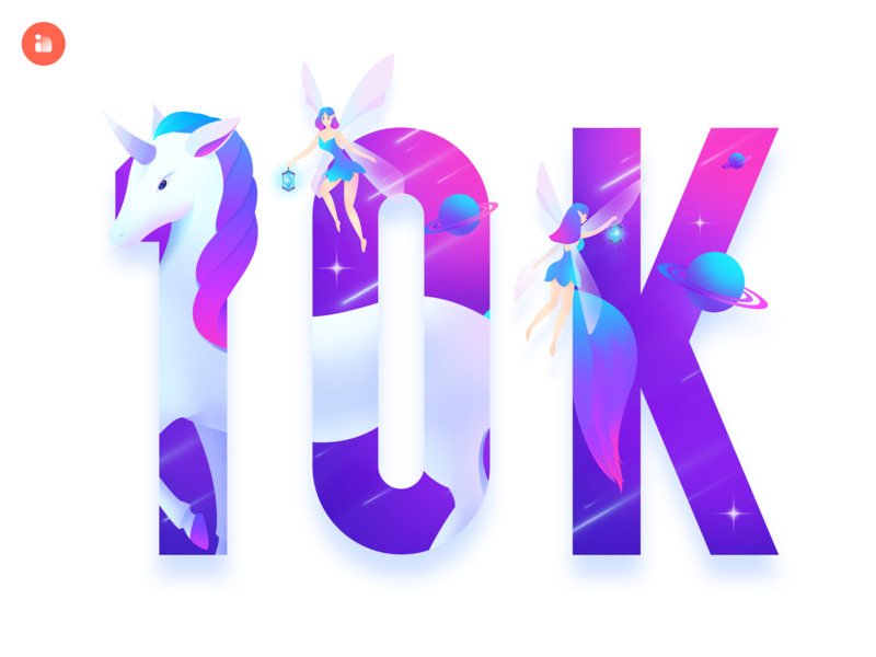 Innn 10k followers meteor gradient color blue purple followers planet elf dream starry sky unicorn logo ux ui color illustration design