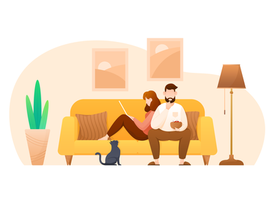 Leisure time red green cherries cherry food orange yellow flat style hanging painting floor lamp plant cat sofa man woman ux design ui illustration leisure time
