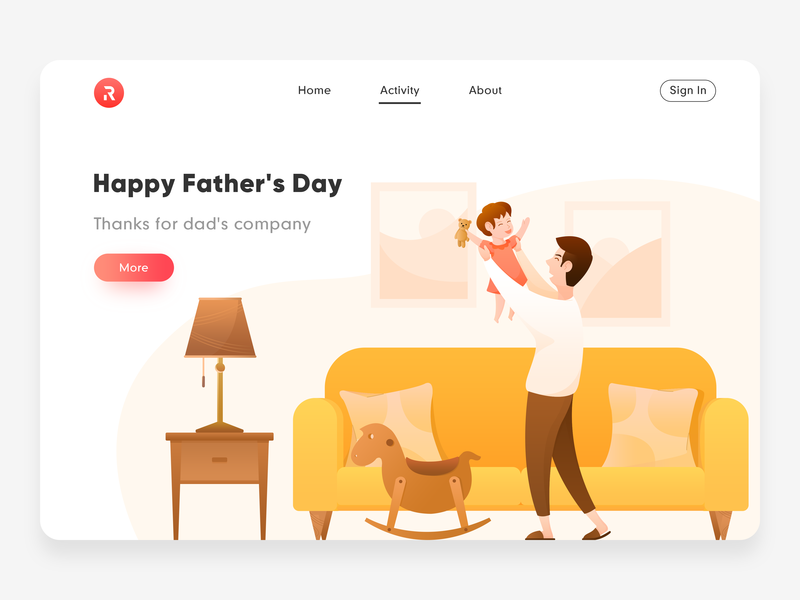 Happy Father's Day table lamp girl trojan sofa red team red activity festival father happy fathers day man web yellow gradient color orange color design illustration ux ui