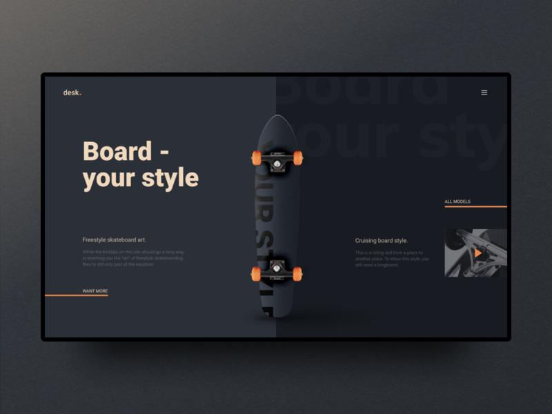 Skateboard skate skateboard dark ui first screen ui ux web ui design