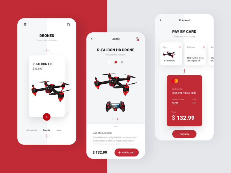 Drones drone credit card pay by card payment pay shopping cart store app add to cart card design card ui ux mobile app