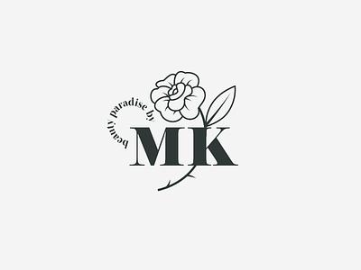 MK smart simple logos illustration logotype brand identity identity minimal flower wordmark cosmetic branding logo