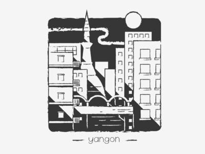 The cityscape of Yangon, Myanmar.